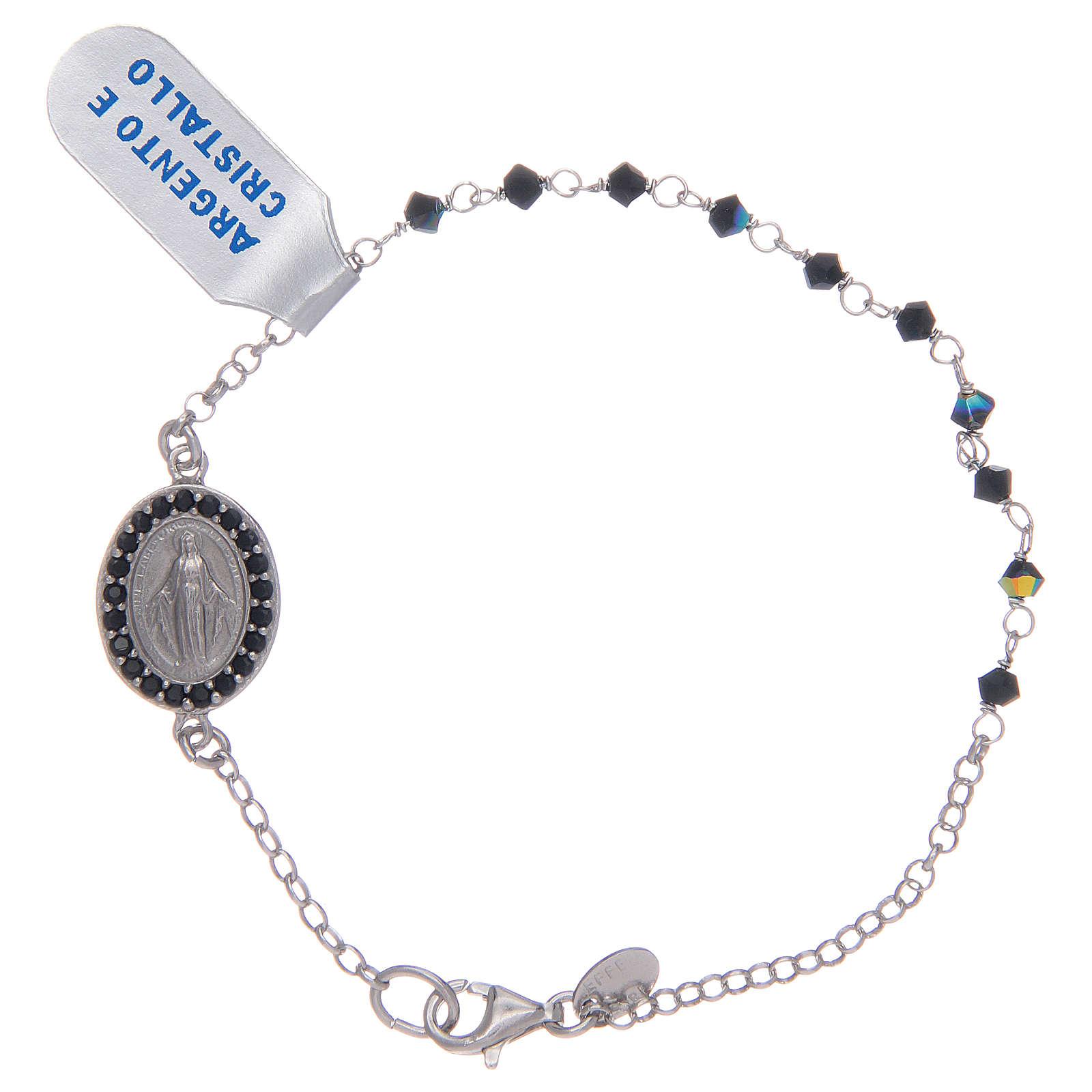 Pulsera Medalla Virgen Milagrosa circones negros en plata 925 4