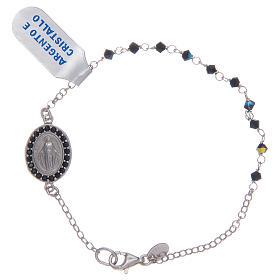 Pulsera Medalla Virgen Milagrosa circones negros en plata 925 s1