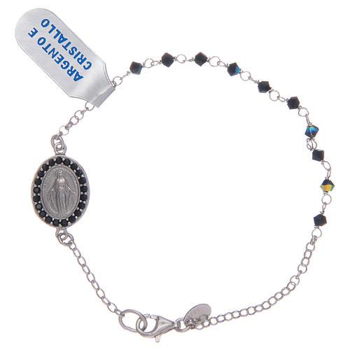 Pulsera Medalla Virgen Milagrosa circones negros en plata 925 1
