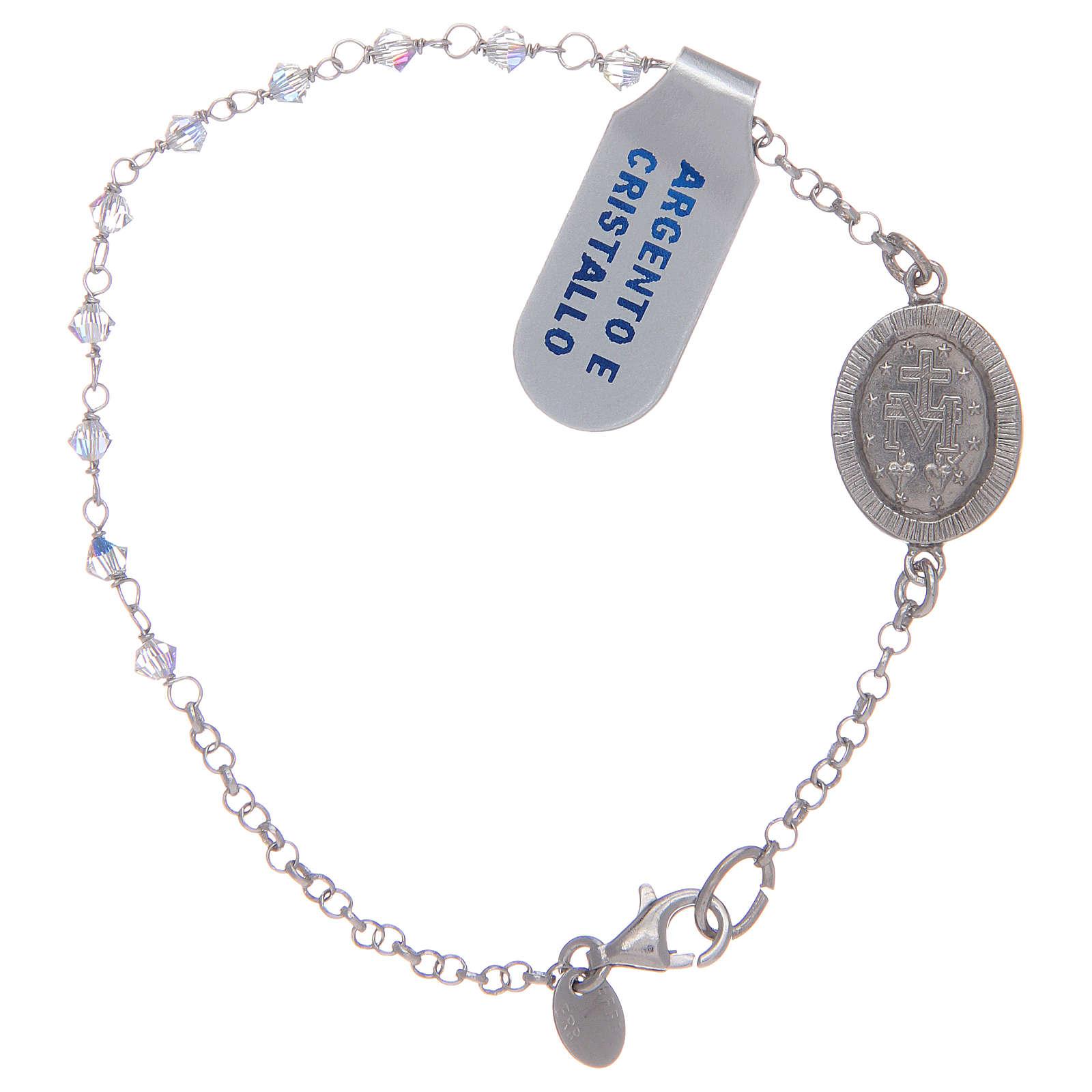 Pulsera circones transparentes Medalla Virgen Milagrosa plata 925 4