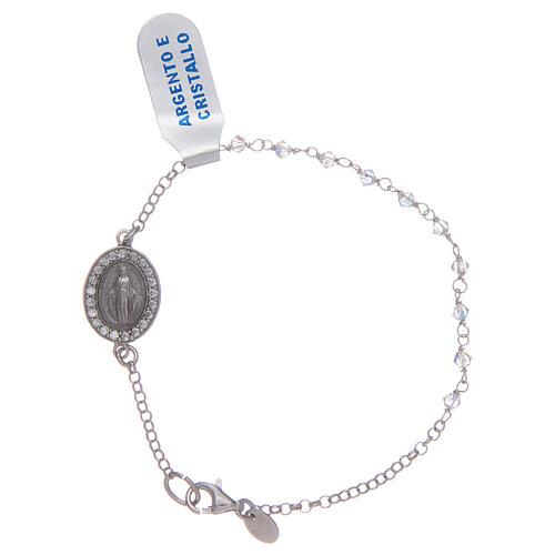 Pulsera circones transparentes Medalla Virgen Milagrosa plata 925 1