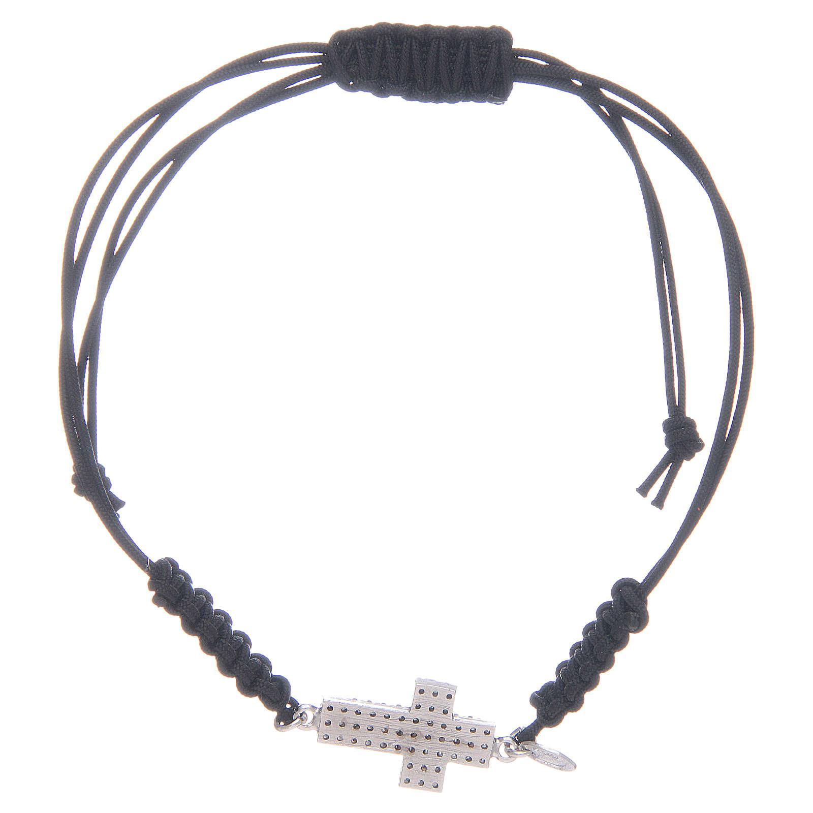 Bracciale cordino in argento 925 con zirconi neri 4