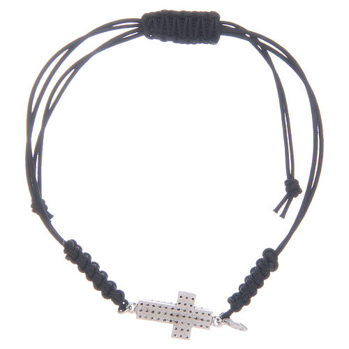 Bracciale cordino in argento 925 con zirconi neri 2
