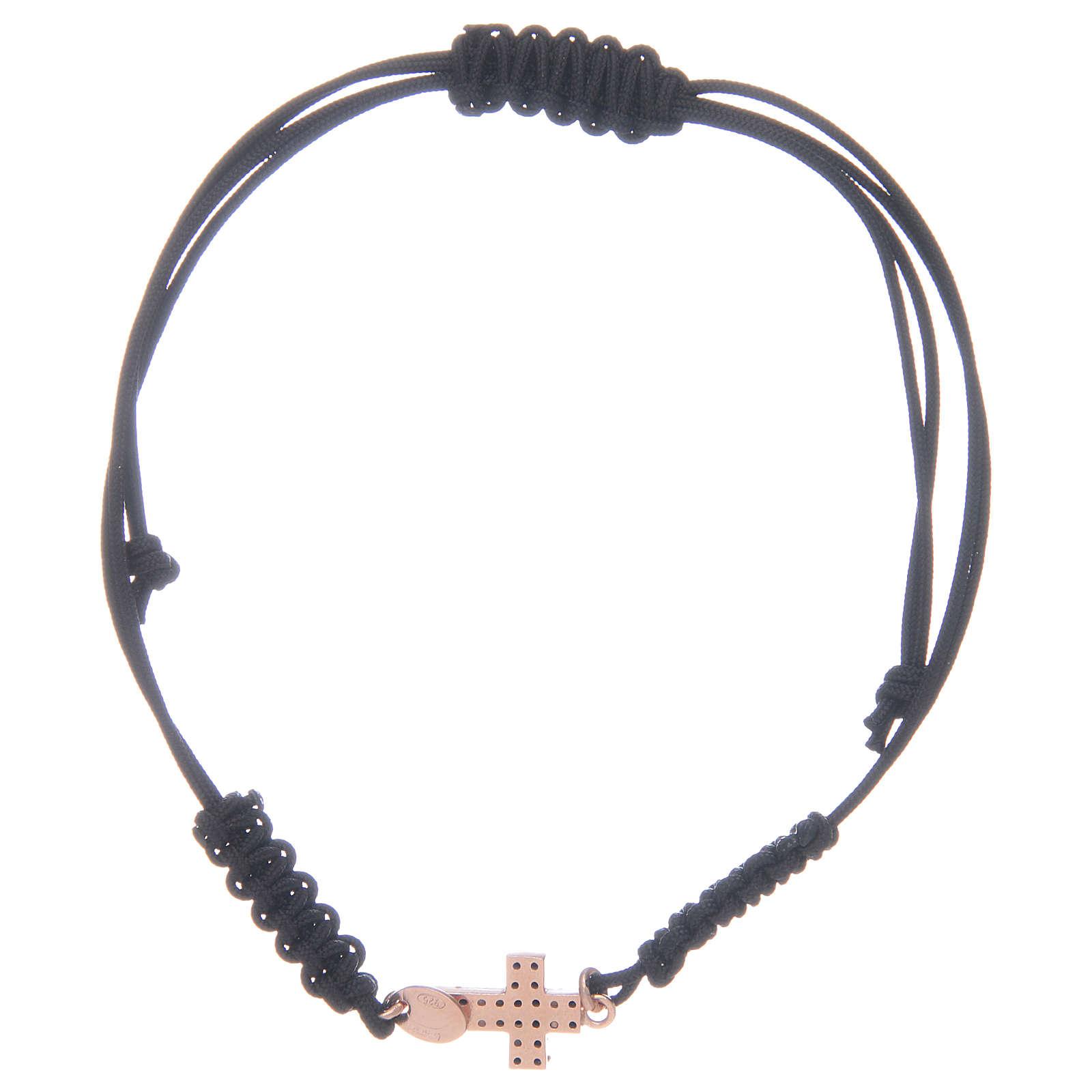 Bracciale cordino con croce rosata 1,3x1 cm con zirconi neri arg 925 4