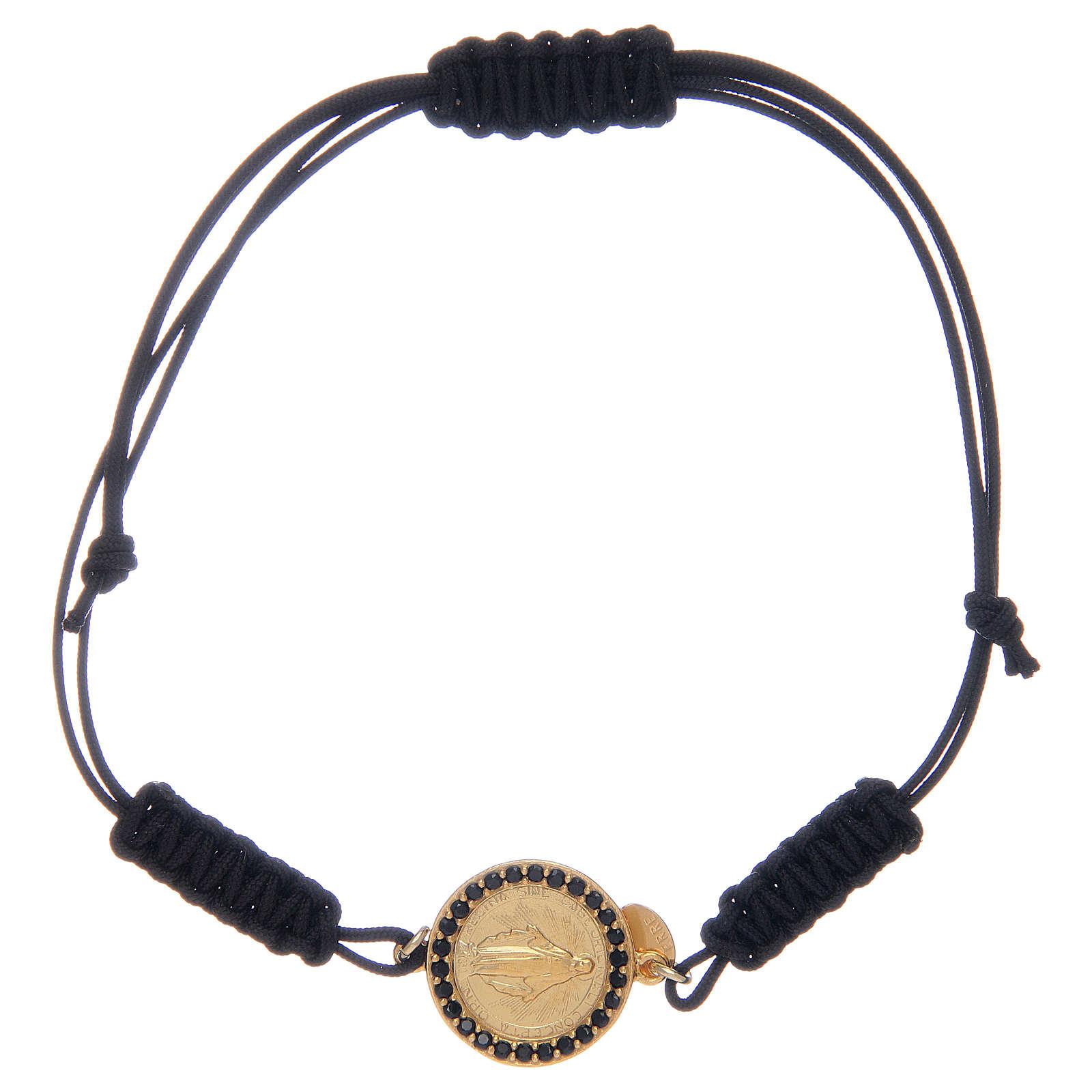 Bracelet Médaille Miraculeuse argent 925 avec zircons noirs 4