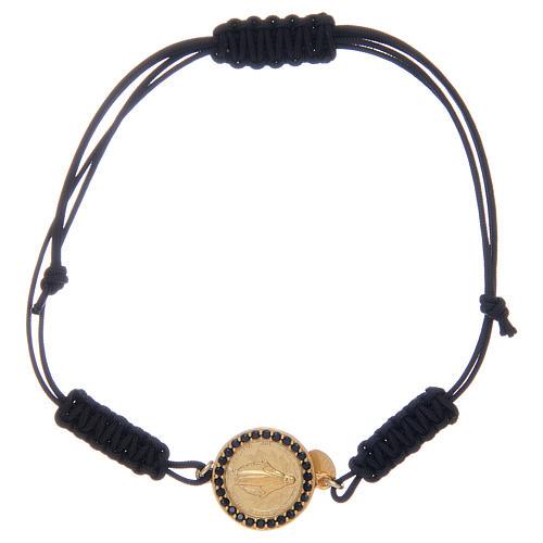 Bracelet Médaille Miraculeuse argent 925 avec zircons noirs 1