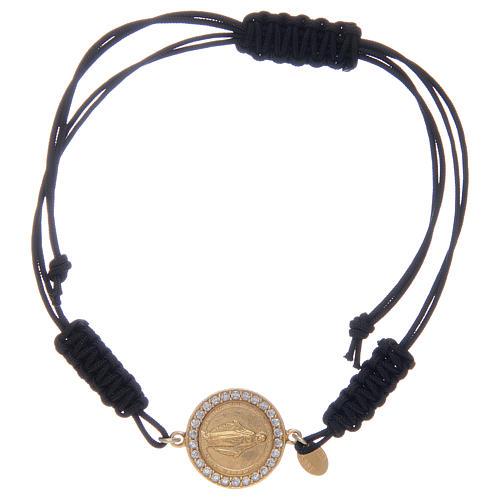 Pulsera cuerda Medalla Milagrosa cuerda circones transparentes plata 925 1