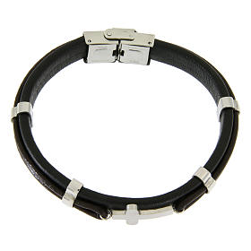 Bracelet in steel and leather with applications and smooth cross s1