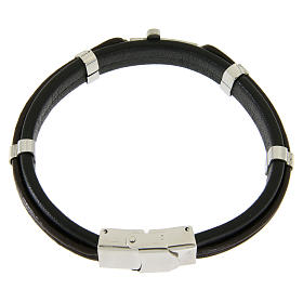 Bracelet in steel and leather with applications and smooth cross s2