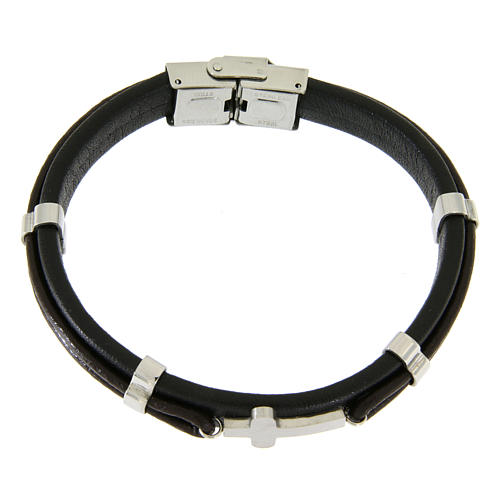Bracelet in steel and leather with applications and smooth cross 1