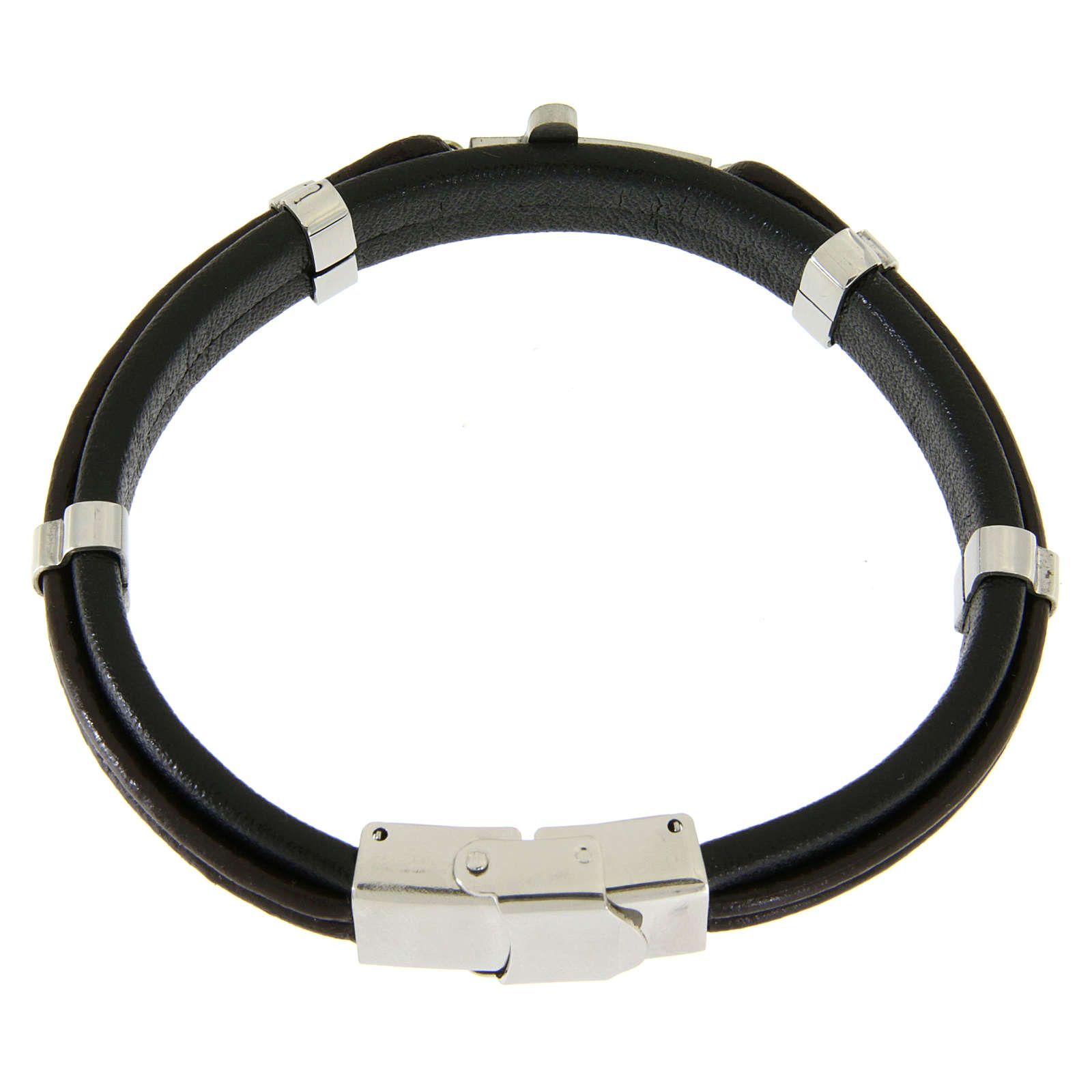 Bracelet en acier et cuir avec perles à glisser et croix lisse 4