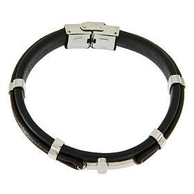 Bracelet en acier et cuir avec perles à glisser et croix lisse s1