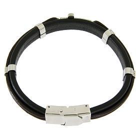 Bracelet en acier et cuir avec perles à glisser et croix lisse s2