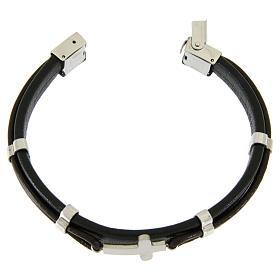 Bracelet en acier et cuir avec perles à glisser et croix lisse s3