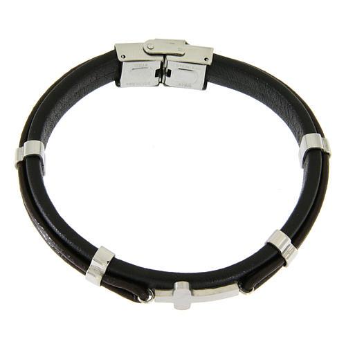 Bracelet en acier et cuir avec perles à glisser et croix lisse 1