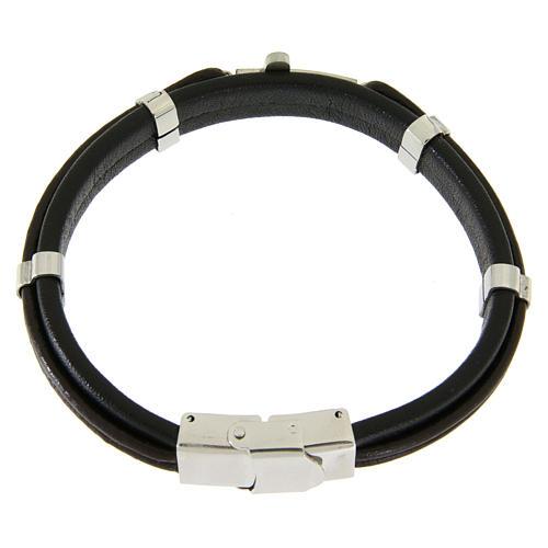 Bracelet en acier et cuir avec perles à glisser et croix lisse 2