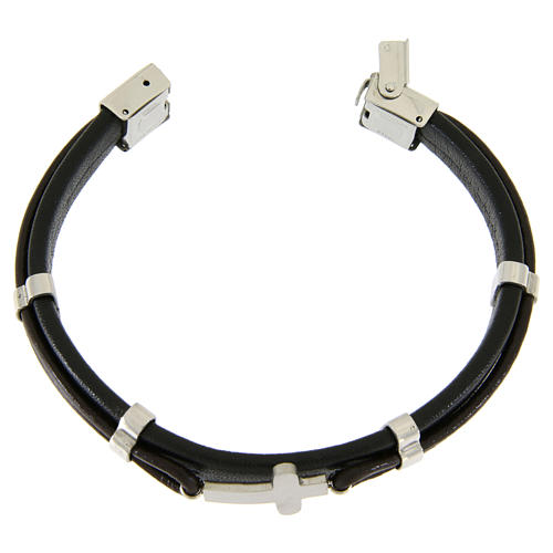 Bracelet en acier et cuir avec perles à glisser et croix lisse 3