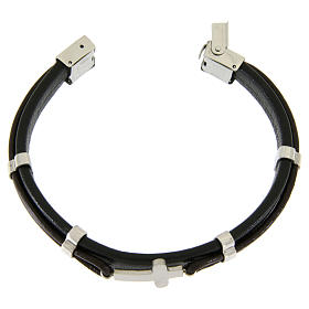 Bracelet in steel and leather with applications and smooth cross s3
