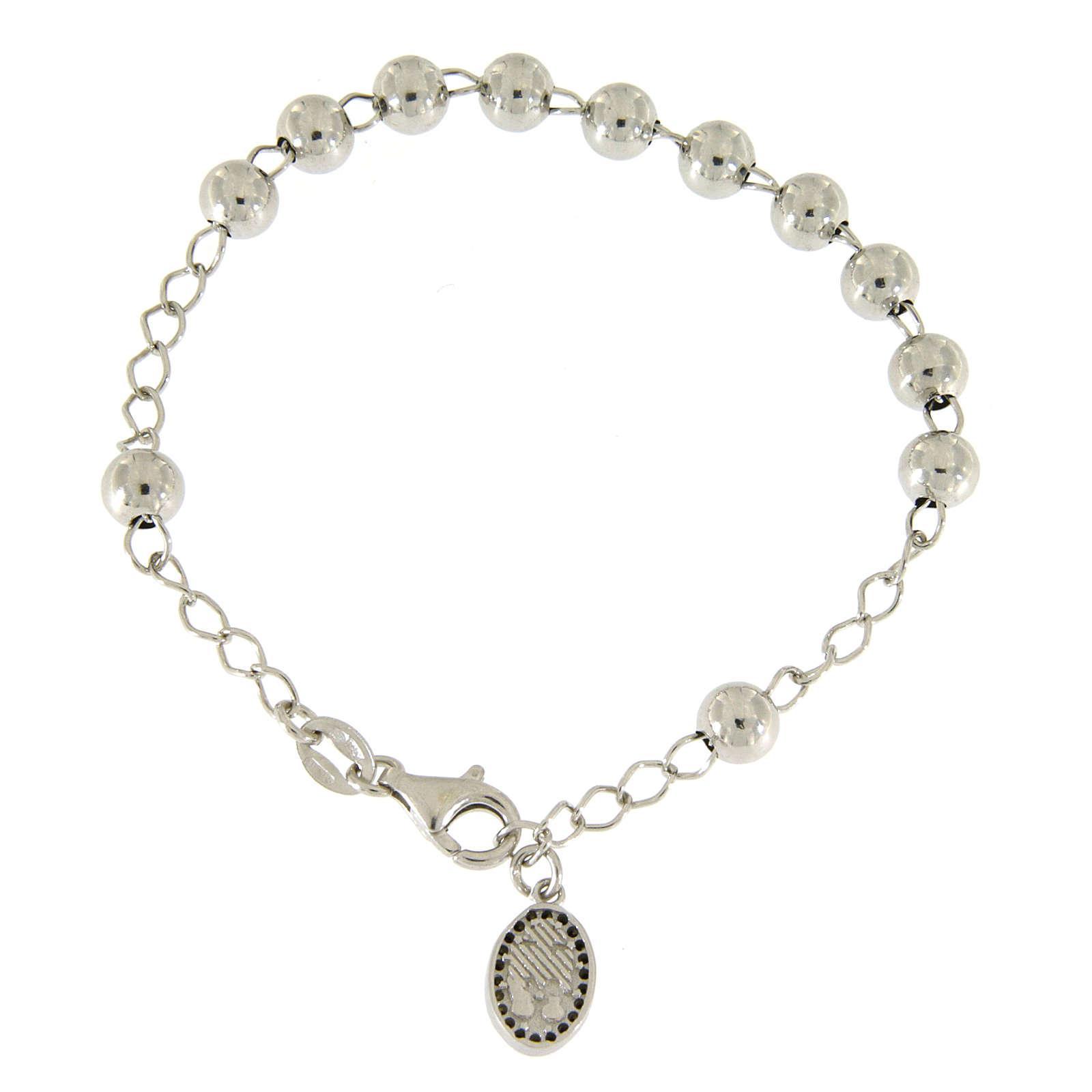 Bracciale religioso argento 925 pallina 6 mm S. Rita zirconi neri 4