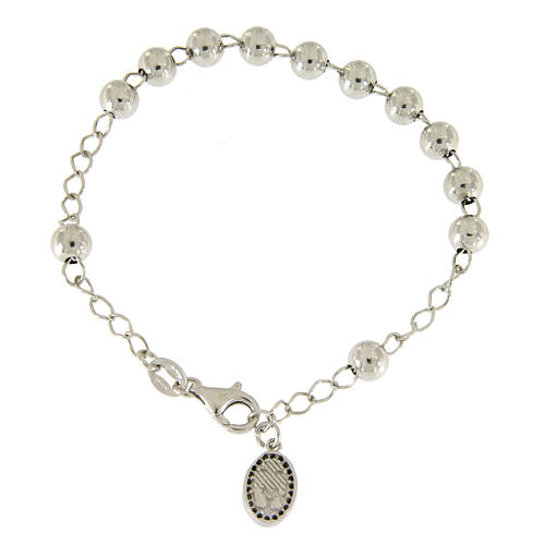 Bracciale religioso argento 925 pallina 6 mm S. Rita zirconi neri 1