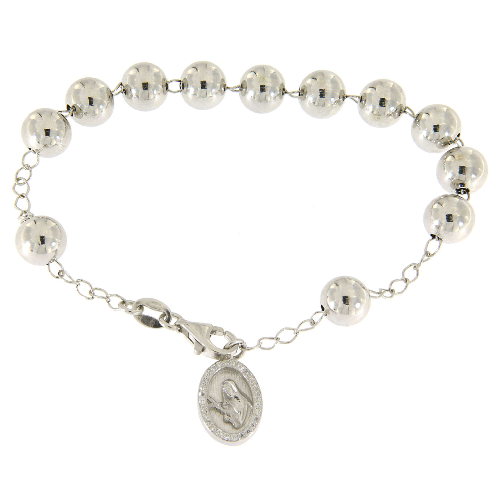 Bracciale religioso argento 925 pallina 8 mm S. Rita zirconi bianchi 4