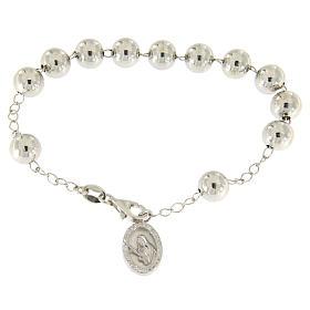 Bracciale religioso argento 925 pallina 8 mm S. Rita zirconi bianchi s1