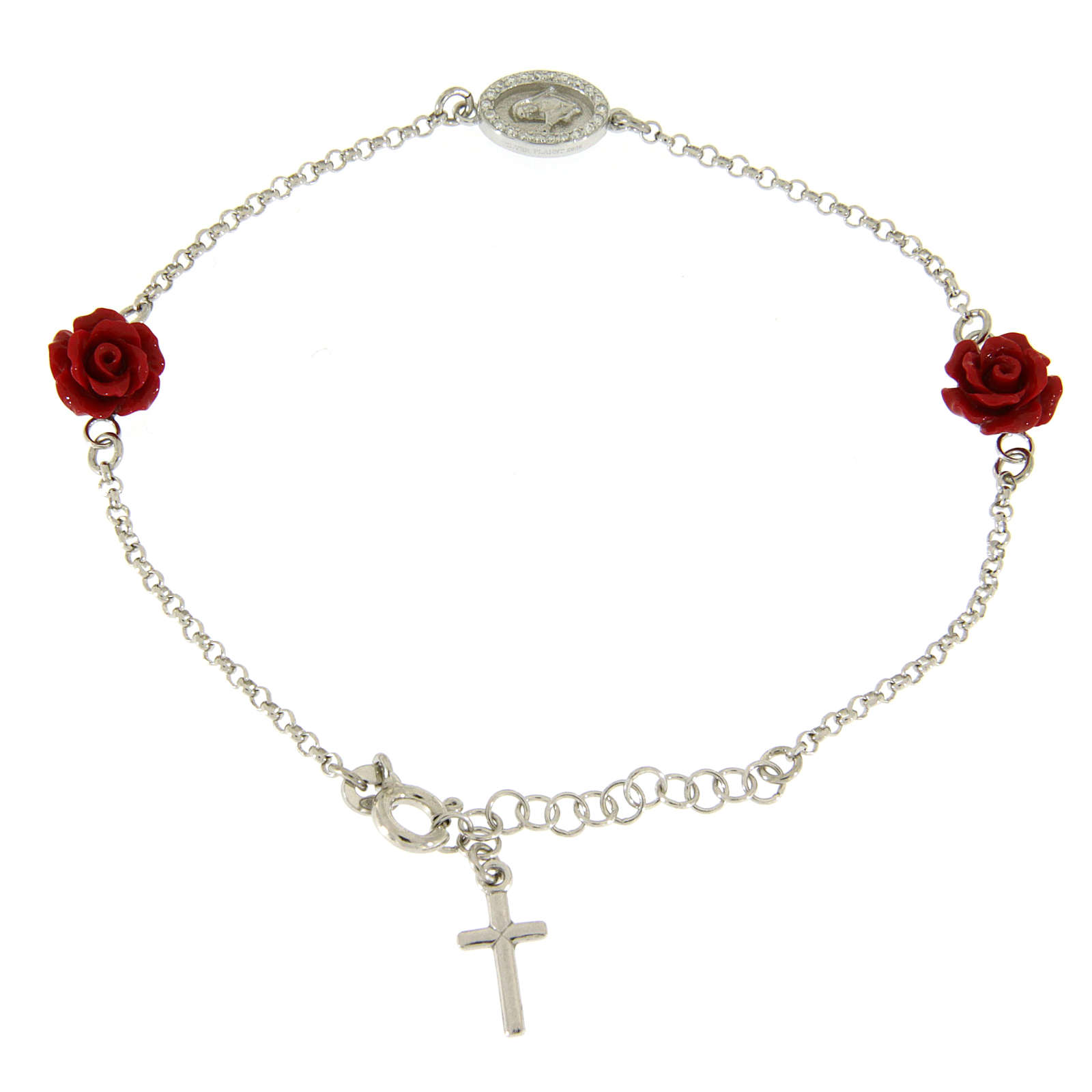 Bracelet with resin roses, a zirconate medalet and a smooth cross 4