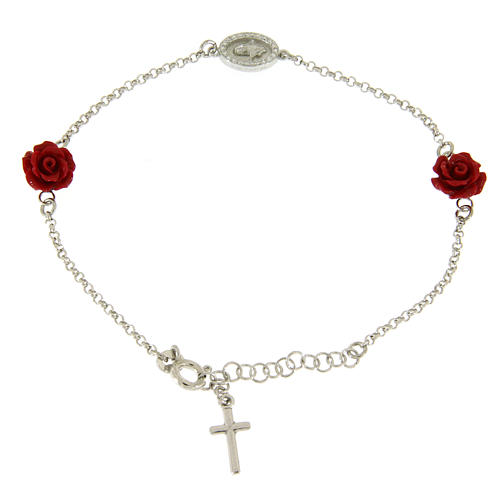 Bracelet with resin roses, a zirconate medalet and a smooth cross 1