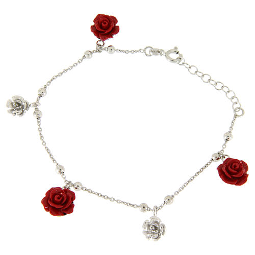 Bracelet roses rouges en résine et argent 1