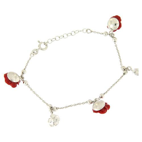 Bracelet roses rouges en résine et argent 2