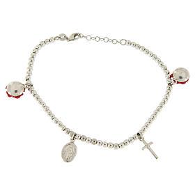 Bracelet grains 4 mm en argent 925 roses en résine croix et médaille s2