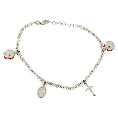 Bracelet grains 4 mm en argent 925 roses en résine croix et médaille 2