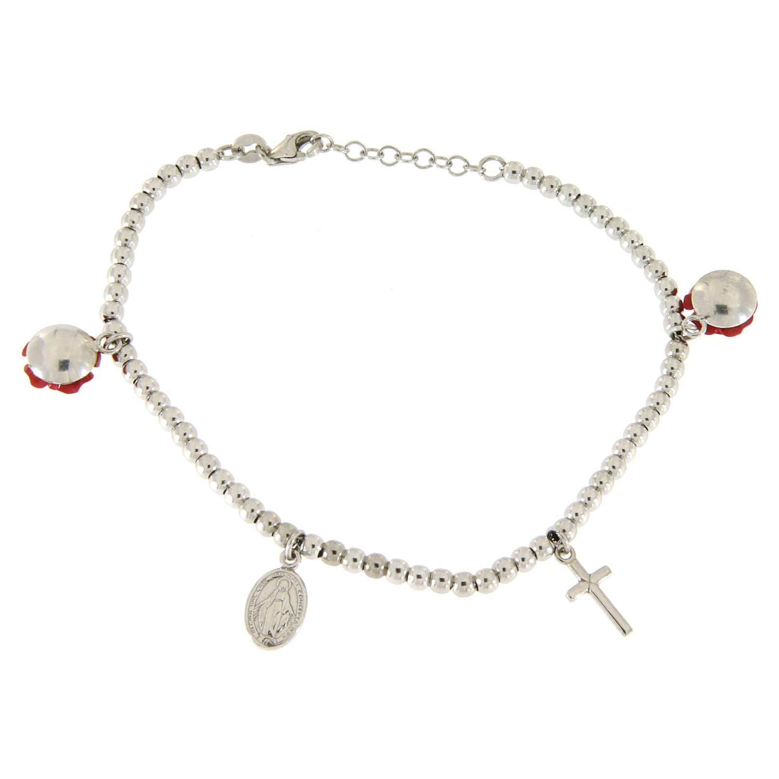 Bracciale sfere 4 mm in argento 925 pendenti roselline in resina, croce e medaglietta 4