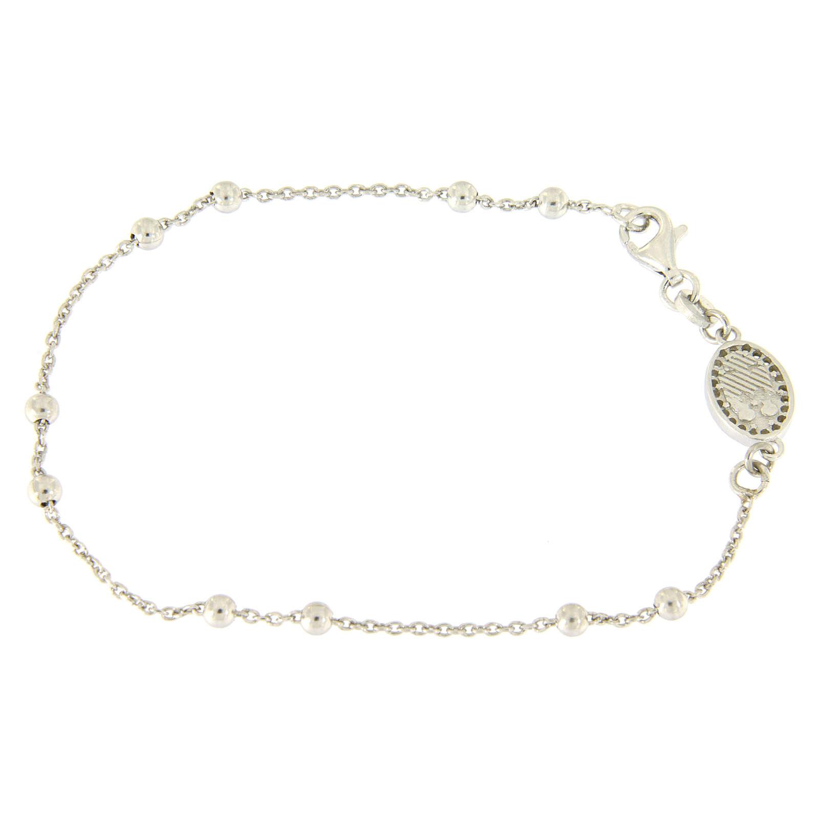 Bracelet perles en argent 925 e médaille image religieuse zircons blancs 4