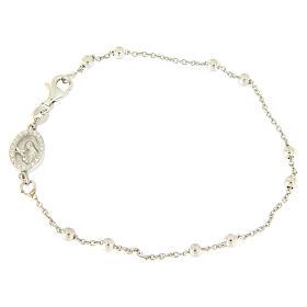 Bracelet perles en argent 925 e médaille image religieuse zircons blancs s1