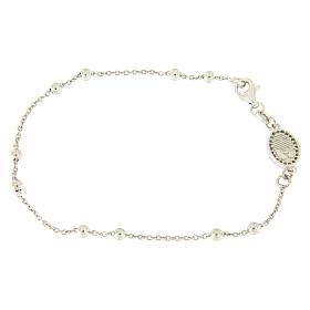 Bracelet perles en argent 925 e médaille image religieuse zircons blancs s2