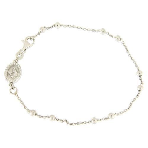 Bracelet perles en argent 925 e médaille image religieuse zircons blancs 1