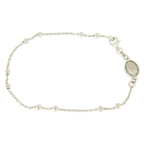 Bracelet perles en argent 925 e médaille image religieuse zircons blancs 2