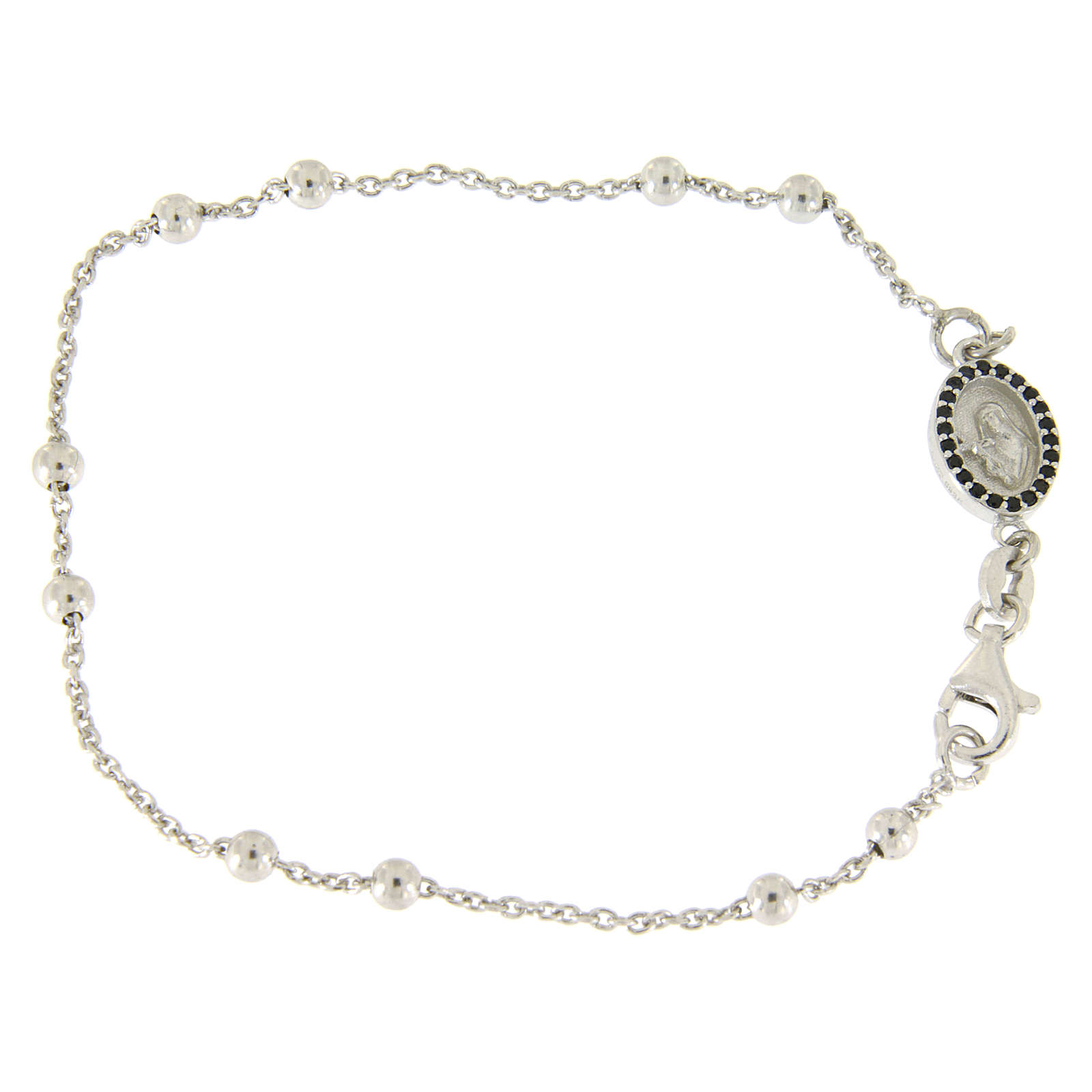 Bracelet perles en argent 925 e médaille image religieuse zircons noirs 4