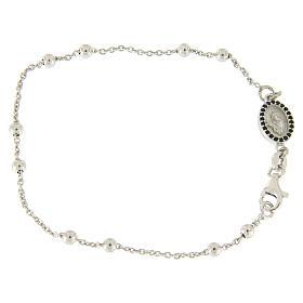 Bracelet perles en argent 925 e médaille image religieuse zircons noirs s1
