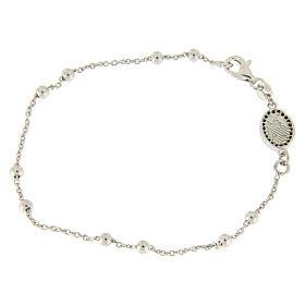Bracelet perles en argent 925 e médaille image religieuse zircons noirs s2