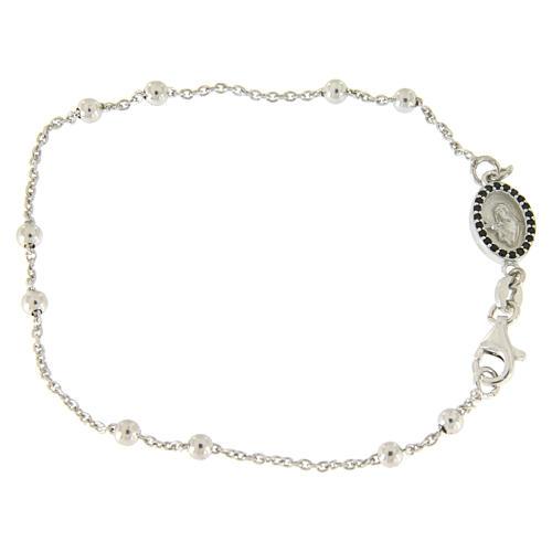 Bracelet perles en argent 925 e médaille image religieuse zircons noirs 1