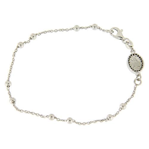 Bracelet perles en argent 925 e médaille image religieuse zircons noirs 2