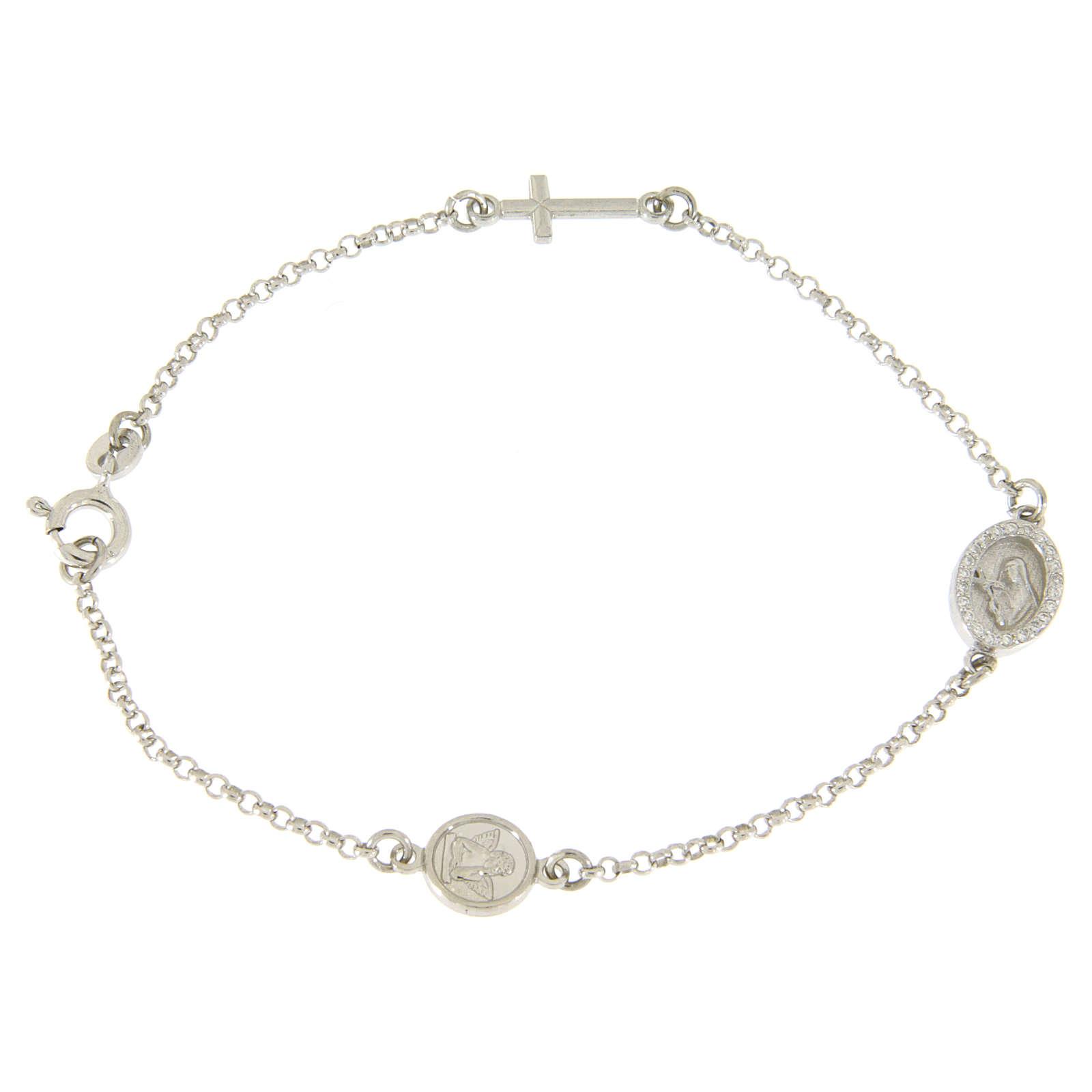 Bracciale in argento 925 con croce e medaglietta con zirconi bianchi 4