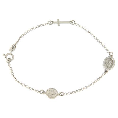Bracciale in argento 925 con croce e medaglietta con zirconi bianchi 1
