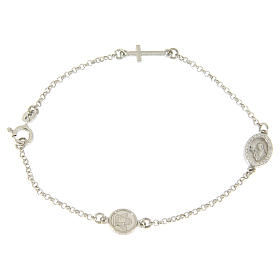Silver bracelets: Bracelet in 925 sterling silver with cross and medalet with white zircons