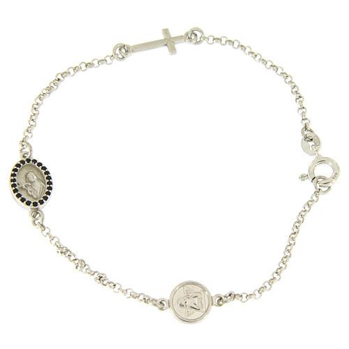 Bracelet en argent 925 croix e médaille religieuse zircons noirs 1