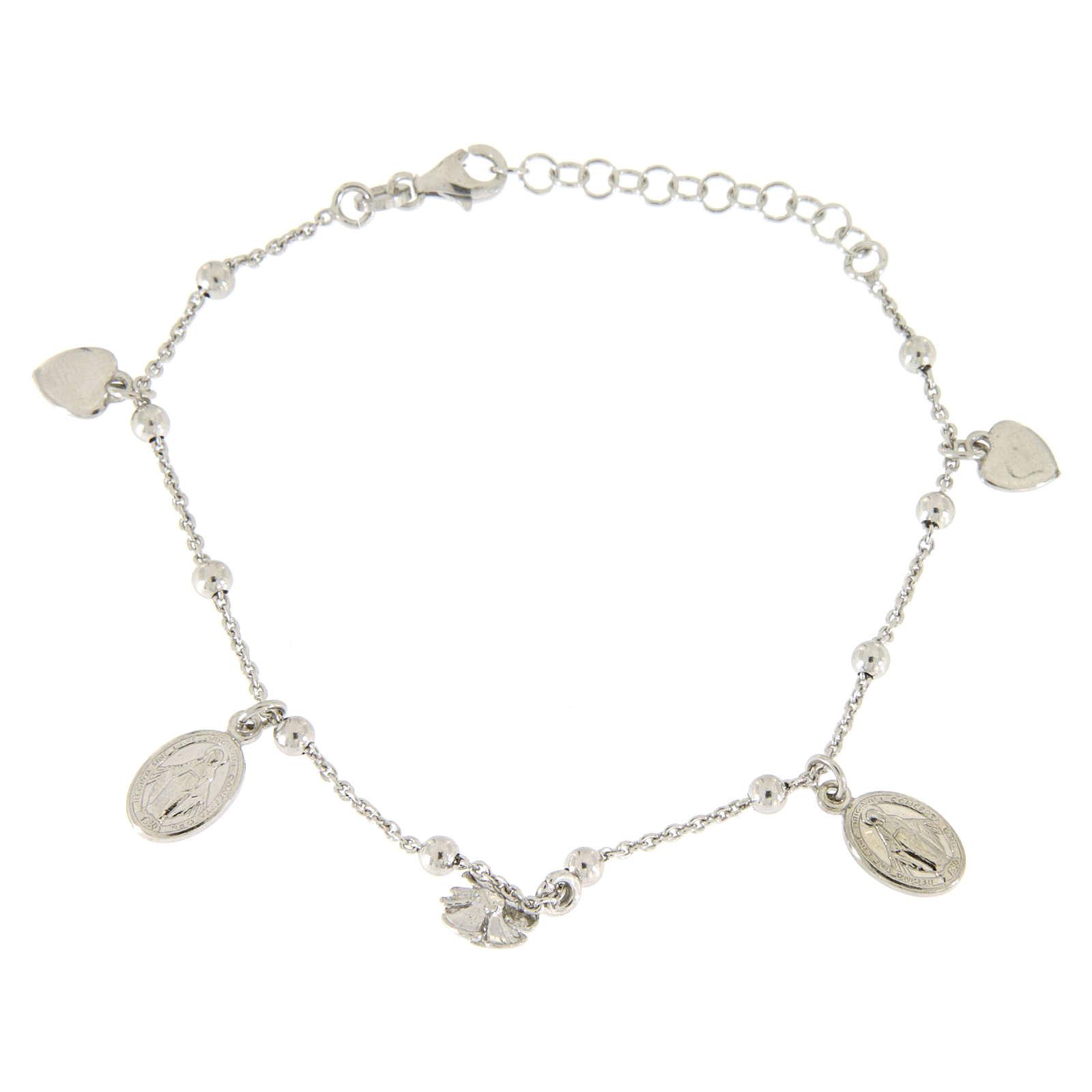 Bracciale pendenti: medagliette santa, cuori e rosa argento 925 4