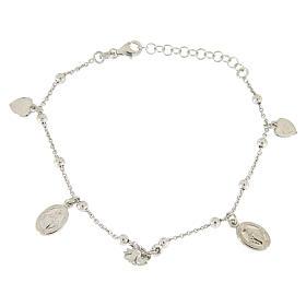 Bracciale pendenti: medagliette santa, cuori e rosa argento 925 s2