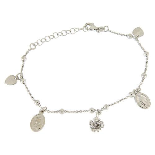 Bracciale pendenti: medagliette santa, cuori e rosa argento 925 1